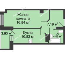 1 комнатная квартира 40,83 м² в ЖК Сердце Ростова, дом Этап I