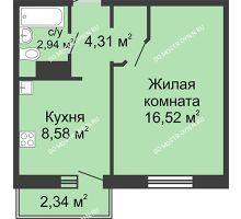 1 комнатная квартира 33,05 м² в ЖК Бурнаковский, дом № 46 - планировка