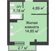 Студия 23,83 м² в ЖК Тридесятое, дом № 19 - планировка