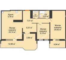 2 комнатная квартира 78,34 м² в ЖК Все свои, дом Литер 5 - планировка
