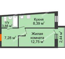 1 комнатная квартира 35,56 м² в ЖК АВИА, дом № 2 - планировка
