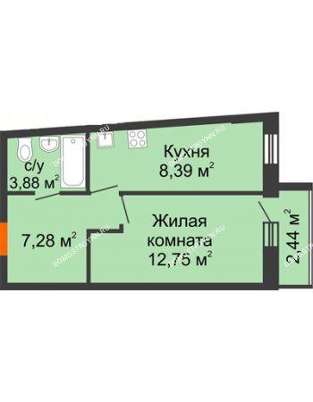 1 комнатная квартира 35,56 м² в ЖК АВИА, дом № 2