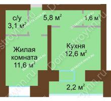 1 комнатная квартира 39,1 м² в ЖК Рубин, дом № 67