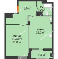 1 комнатная квартира 64,3 м² в ЖК Квартет, дом № 3 - планировка