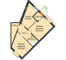 2 комнатная квартира 73,5 м², Жилой дом: г. Дзержинск, ул. Кирова, д.12 - планировка