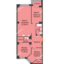 4 комнатная квартира 118,1 м², ЖК Гагарин - планировка