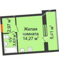 Студия 23,64 м² в ЖК АВИА, дом № 2 - планировка