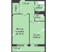 1 комнатная квартира 56,1 м² в  ЖК РИИЖТский Уют, дом Секция 1-2 - планировка
