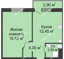 1 комнатная квартира 36,44 м² в ЖК Бурнаковский, дом № 46 - планировка