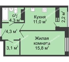1 комнатная квартира 39,6 м² в ЖК Октава, дом №2 - планировка