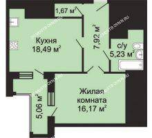 1 комнатная квартира 52,01 м², ЖК Гелиос - планировка