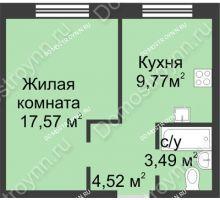 1 комнатная квартира 35,35 м² в ЖК Солнечный, дом д. 161 А/1 - планировка