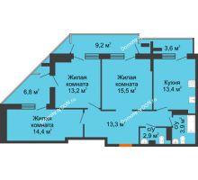 3 комнатная квартира 85,9 м² - ЖК на ул. Греческого Города Волос, 82