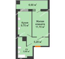 1 комнатная квартира 35,28 м² в ЖК Грин Парк, дом Литер 1 - планировка