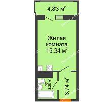 Студия 24,78 м² в МКР Родные просторы, дом Литер 7 - планировка