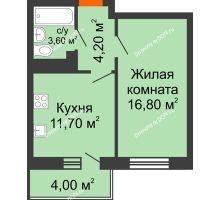 1 комнатная квартира 38,3 м² в ЖК Я, дом  Литер 2 - планировка