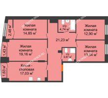 4 комнатная квартира 109,48 м², Клубный дом на Ярославской - планировка