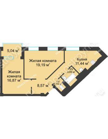 2 комнатная квартира 64,02 м² в ЖК Воскресенская слобода, дом №1