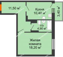 1 комнатная квартира 47,1 м² в ЖК Я, дом  Литер 2 - планировка