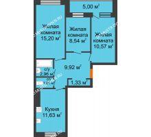 3 комнатная квартира 63,5 м², Жилой дом: г. Дзержинск, ул. Буденного, д.11б - планировка