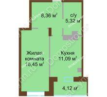 1 комнатная квартира 45,34 м² в ЖК Солнечный город, дом на участке № 208 - планировка