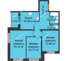3 комнатная квартира 76,93 м², ЖК Вавиловский Дворик - планировка