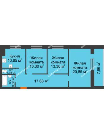 3 комнатная квартира 85,34 м² в ЖК Парк Горького, дом 62/18, № 6