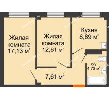 2 комнатная квартира 51,17 м², Жилой дом в 7 мкрн.г.Сосновоборск - планировка