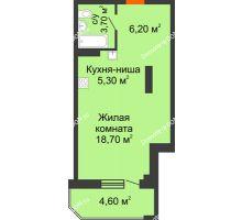 Студия 38,5 м² в ЖК Три Сквера (3 Сквера), дом № 31 - планировка