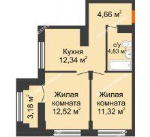 2 комнатная квартира 47,26 м², ЖК КМ Молодежный, 76 - планировка