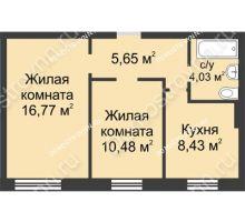 2 комнатная квартира 45,36 м² в ЖК Окский берег, дом № 2 - планировка