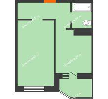 1 комнатная квартира 38,9 м² в ЖК Ромашково, дом Позиция 2 - планировка