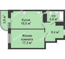 1 комнатная квартира 50,1 м² в ЖК Звездный, дом № 5