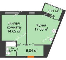 1 комнатная квартира 44,89 м² в ЖК Книги, дом № 1 - планировка