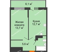 1 комнатная квартира 37,3 м², ЖК Акварели-3 - планировка