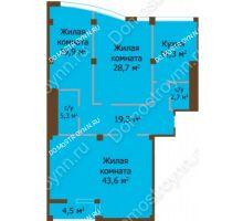 3 комнатная квартира 138,4 м², ЖК Бояр Палас - планировка