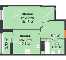 1 комнатная квартира 38,25 м², ЖК Каскад на Ленина - планировка