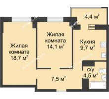 2 комнатная квартира 56,8 м² в ЖК Аквамарин, дом №2 - планировка