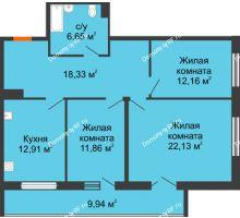 3 комнатная квартира 89,01 м² в ЖК Королев, дом №1 (1,2, подъезд), 1-ая очередь - планировка