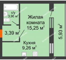 1 комнатная квартира 34,85 м², ЖК Дом у озера - планировка