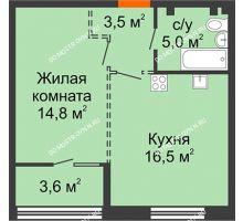1 комнатная квартира 41,6 м², ЖК Лайнер на Барминской - планировка