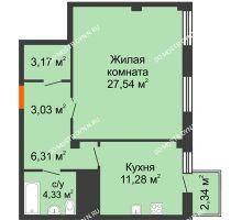1 комнатная квартира 56,36 м² в ЖК Renaissance (Ренессанс), дом № 1 - планировка