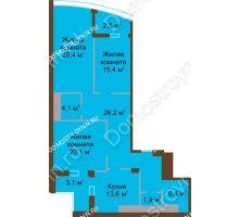 3 комнатная квартира 118,7 м² в ЖК Монолит, дом № 89, корп. 1, 2 - планировка