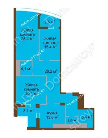 3 комнатная квартира 118,7 м² в ЖК Монолит, дом № 89, корп. 1, 2