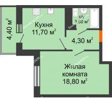 1 комнатная квартира 40,3 м² в ЖК Я, дом  Литер 2 - планировка
