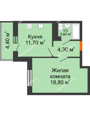 1 комнатная квартира 40,3 м² в ЖК Я, дом  Литер 2