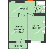 1 комнатная квартира 42,42 м², ЖК Орбита - планировка