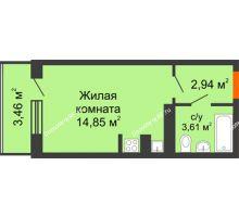 Студия 23,13 м², ЖК 9 Ярдов - планировка