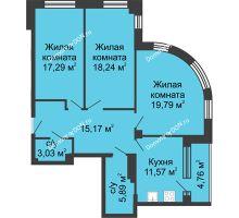 3 комнатная квартира 95,74 м², ЖК Вдохновение - планировка