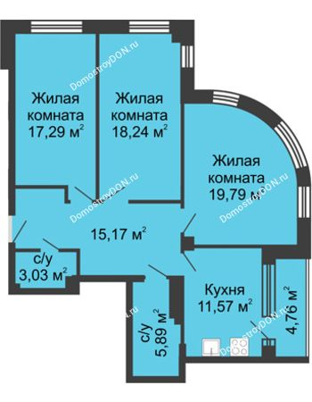 3 комнатная квартира 95,74 м² - ЖК Вдохновение